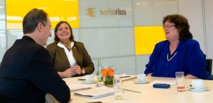 Left to right: Brian Caine (publisher of BioProcess International), Christel Fenge (vice president of marketing for fermentation technologies at Sartorius Stedim Biotech), and S. Anne Montgomery (editor in chief of BioProcess International).