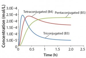 Figure 3: Reaction kinetics simulation for multiconjugation with reagent deactivation using parameters from Table I
