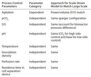 Table 1: Summary of scale-dependent and scale-independent parameters considered during development of the 12-L scale-down model