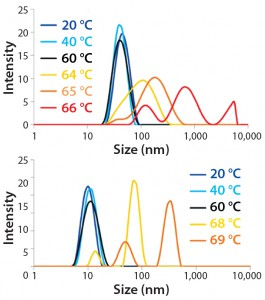 Figure 4B: Overlay of DLS size distributions for MAb A (top panel) and MAb B (bottom panel) at indicated temperatures along thermal ramping study from 20 °C to 90 °C