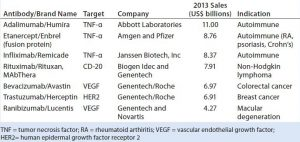 Table 1: Top-selling therapeutic monoclonal antibody (MAb) products in 2013