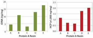 Figure 5: rDNA levels (left) and HCP clearance (right) following protein A capture chromatography
