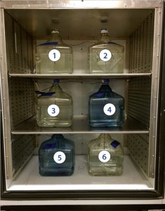 Photo 3: Standard six-bottle positions in chamber